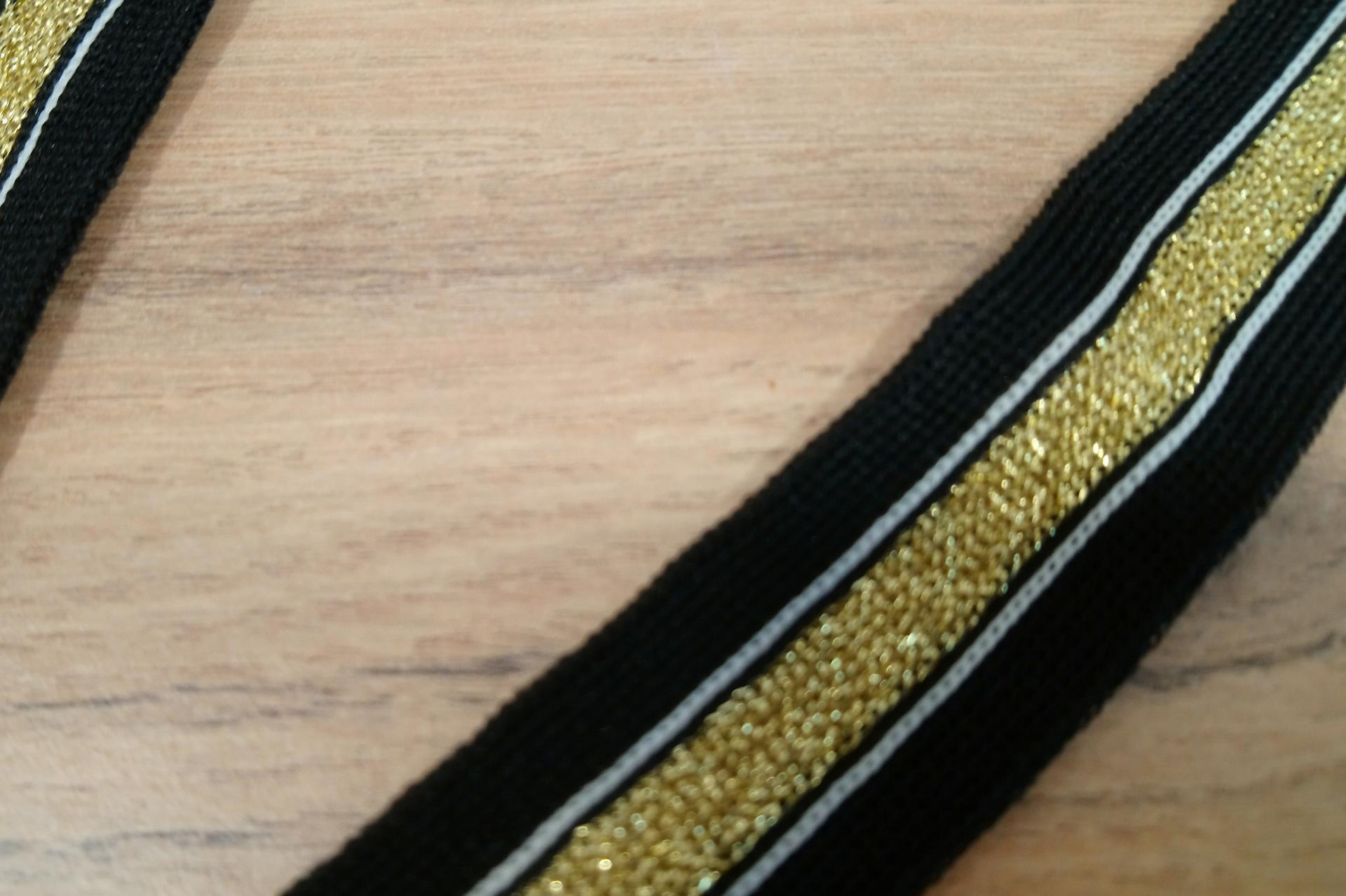 Bande jersey noir 2 5 cm
